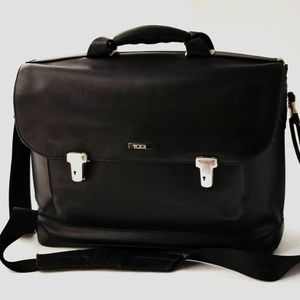 TUMI Black Commuter Leather briefcase laptop bag